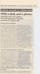 The Art Newspaper August 1999 With a desk and a phone Art goes underground at Waterloo