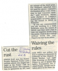 Evening Standard Cut the rust Sue mentioned in Poetry Competition blurb