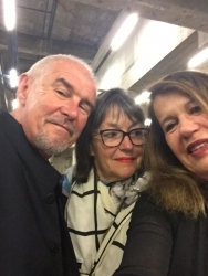 Sue Hubbard with Tony Bevan and Glenys Johnson at the opening of Tate Modern extension