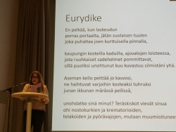Reading at Lahti literary festival. My poem Euridyce translated into Finnish.